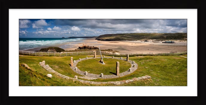 Perranporth Sundial and Beach - Framed Print with Mount