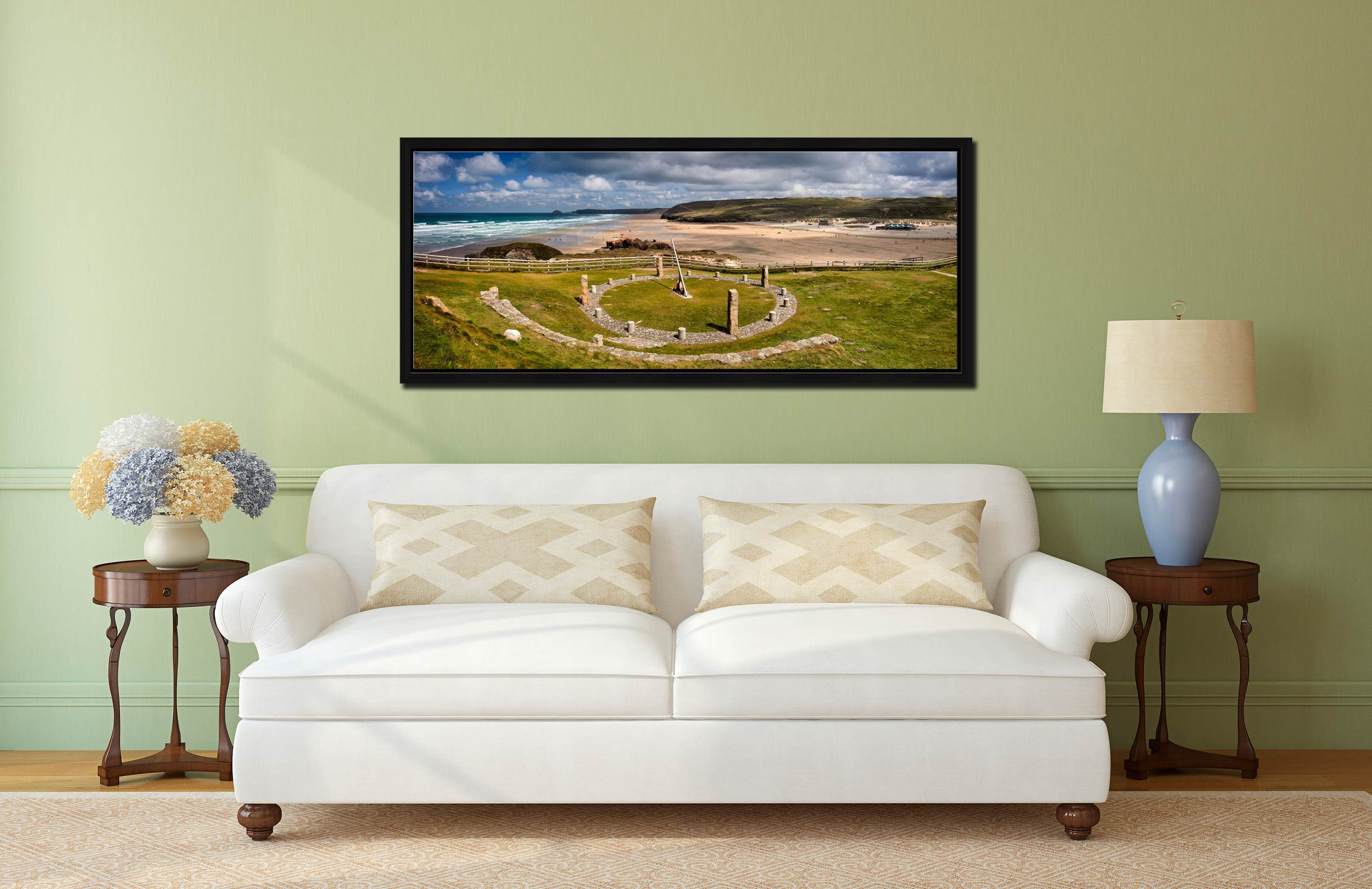 View over the Sundial to the golden beach at Perranporth - Black oak floater frame with acrylic glazing on Wall