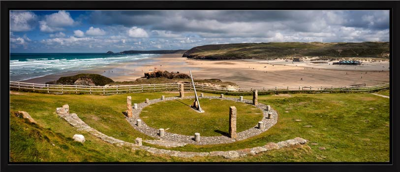 View over the Sundial to the golden beach at Perranporth