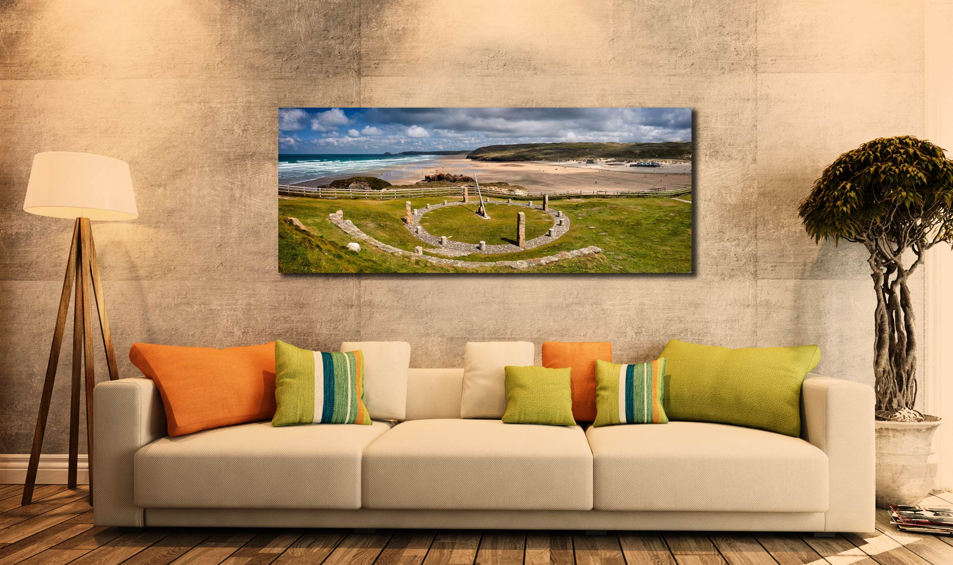 View over the Sundial to the golden beach at Perranporth - Print Aluminium Backing With Acrylic Glazing on Wall