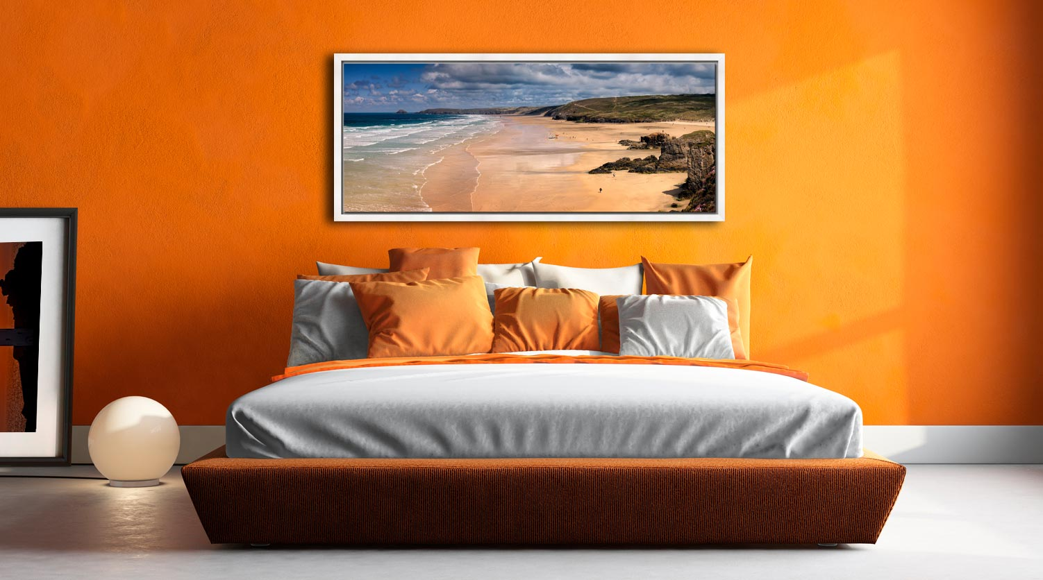 The golden sands of Perranporth Beach - White Maple floater frame with acrylic glazing on Wall