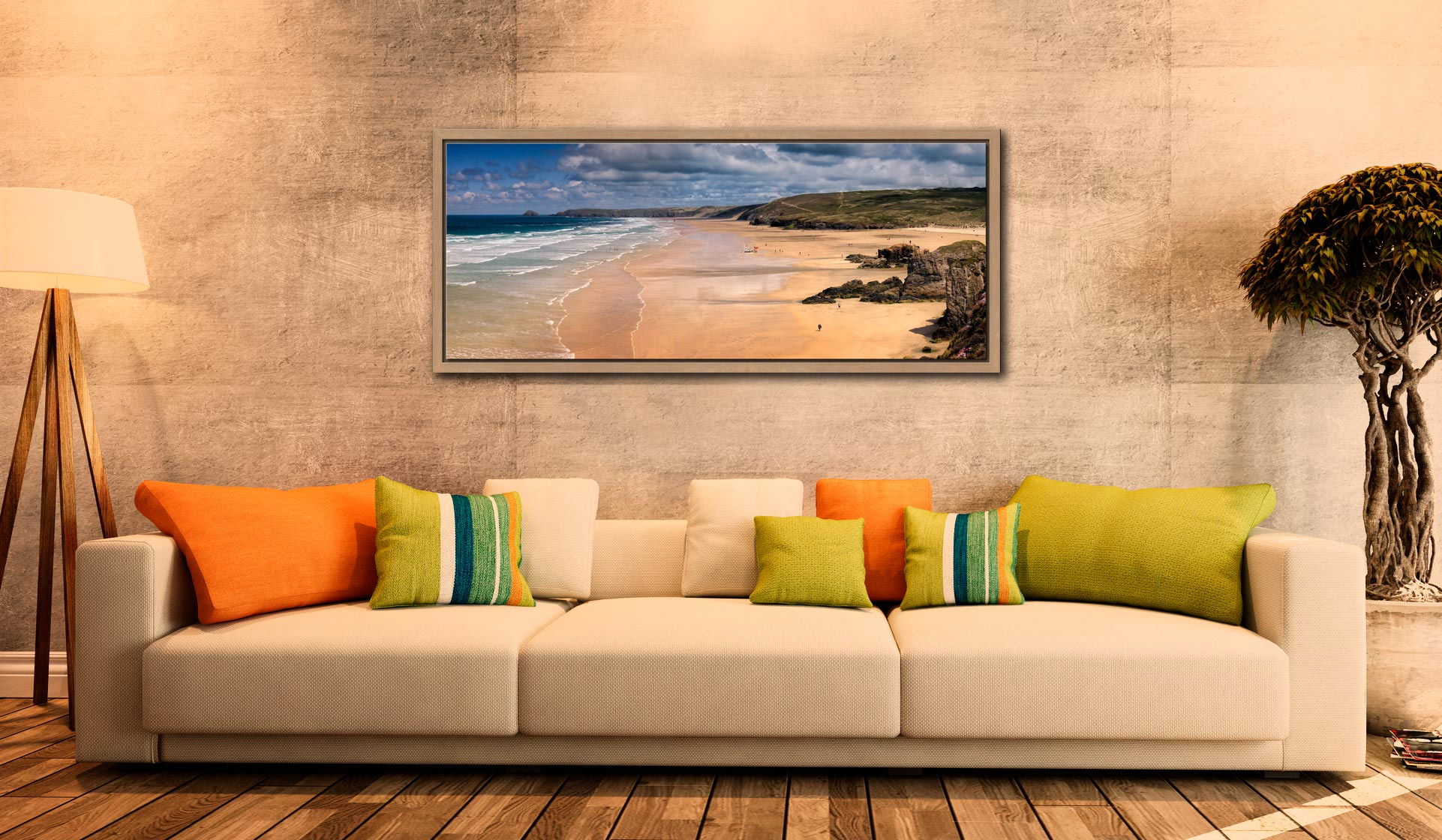 The golden sands of Perranporth Beach - Oak floater frame with acrylic glazing on Wall