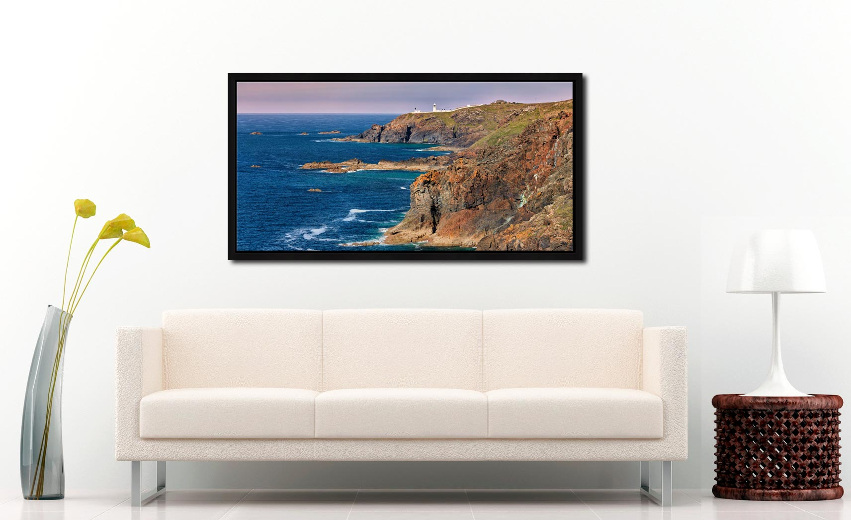 Pendeen Lighthouse Cliffs - Black oak floater frame with acrylic glazing on Wall
