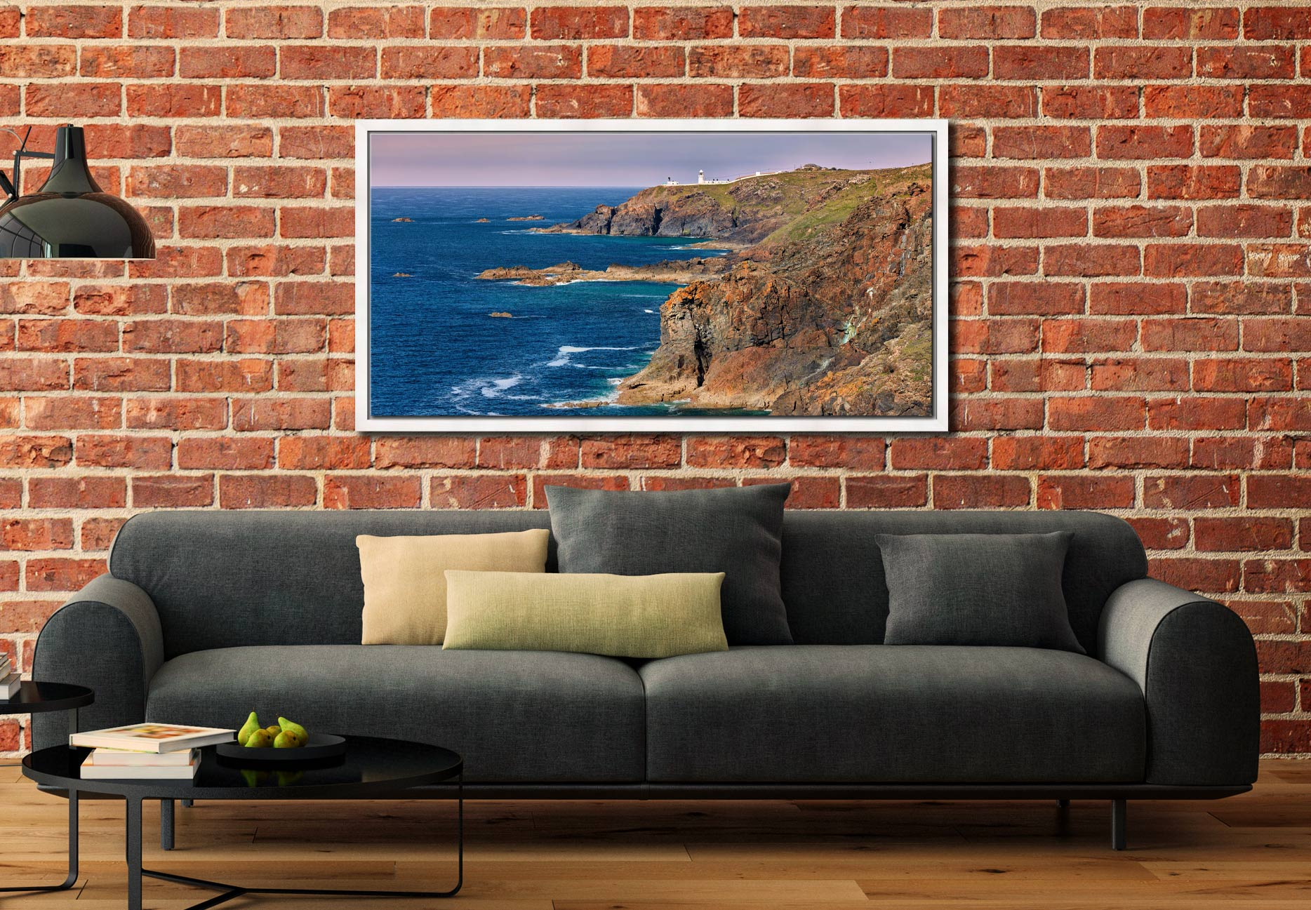 Pendeen Lighthouse Cliffs - White Maple floater frame with acrylic glazing on Wall