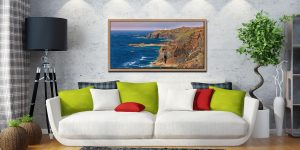 Pendeen Lighthouse Cliffs - Oak floater frame with acrylic glazing on Wall