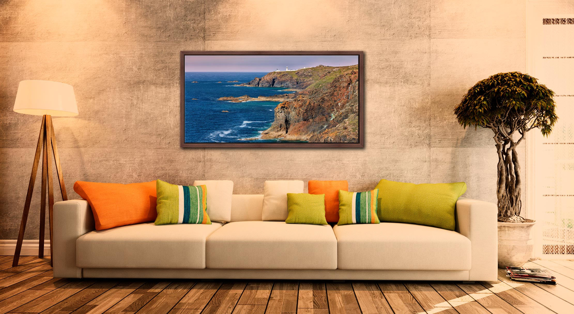 Pendeen Lighthouse Cliffs - Walnut floater frame with acrylic glazing on Wall