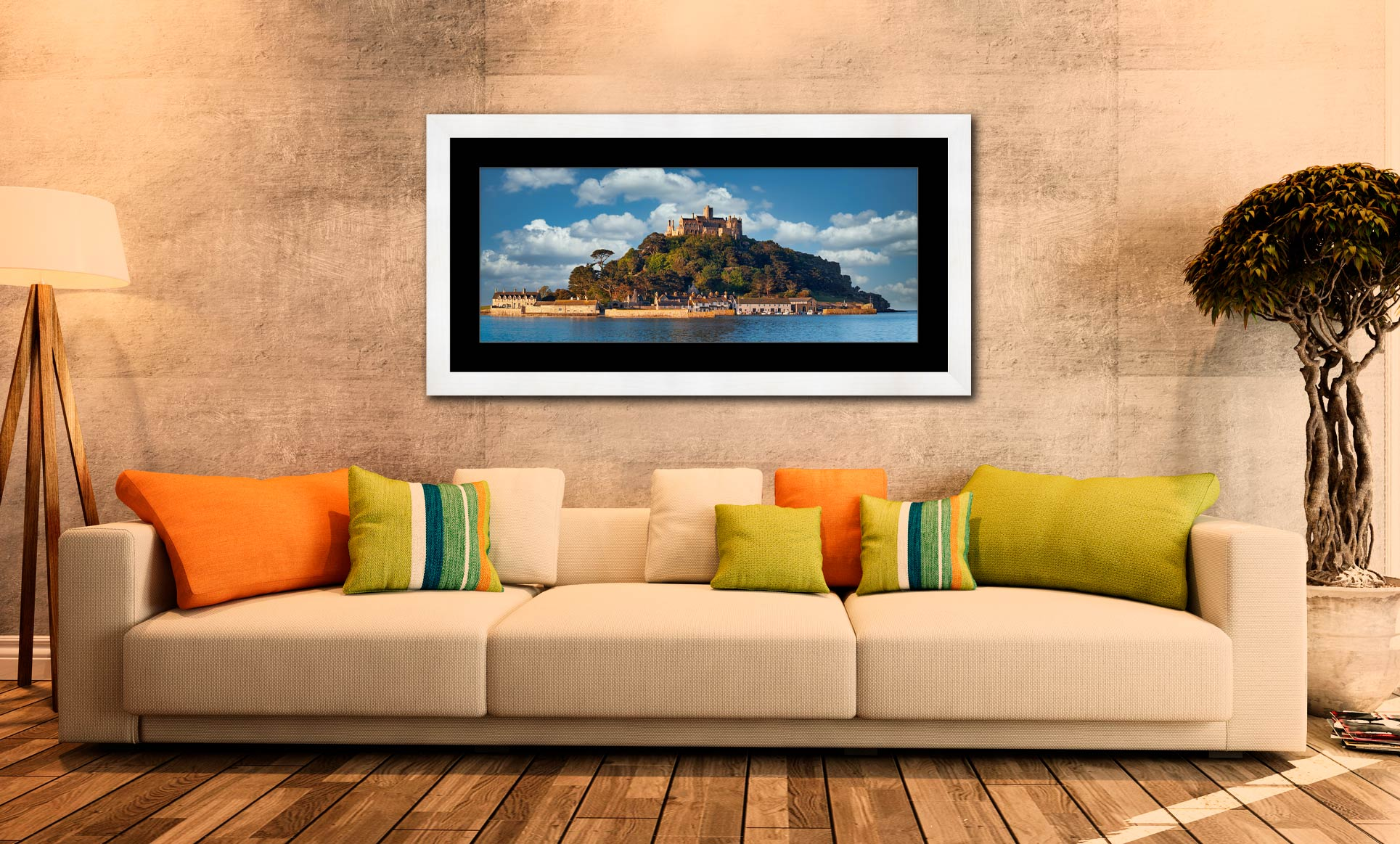 St Michaels Mount - Framed Print with Mount on Wall
