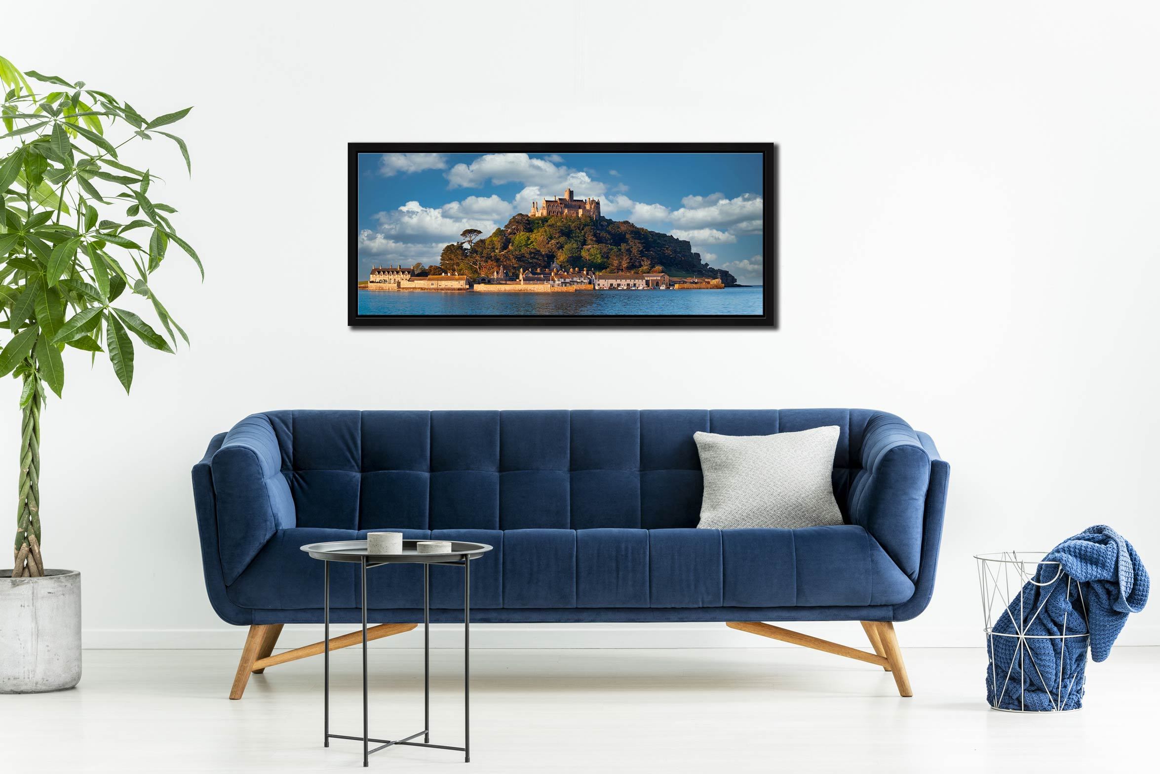 Warm spring sunshine on St Michaels Mount - Black oak floater frame with acrylic glazing on Wall