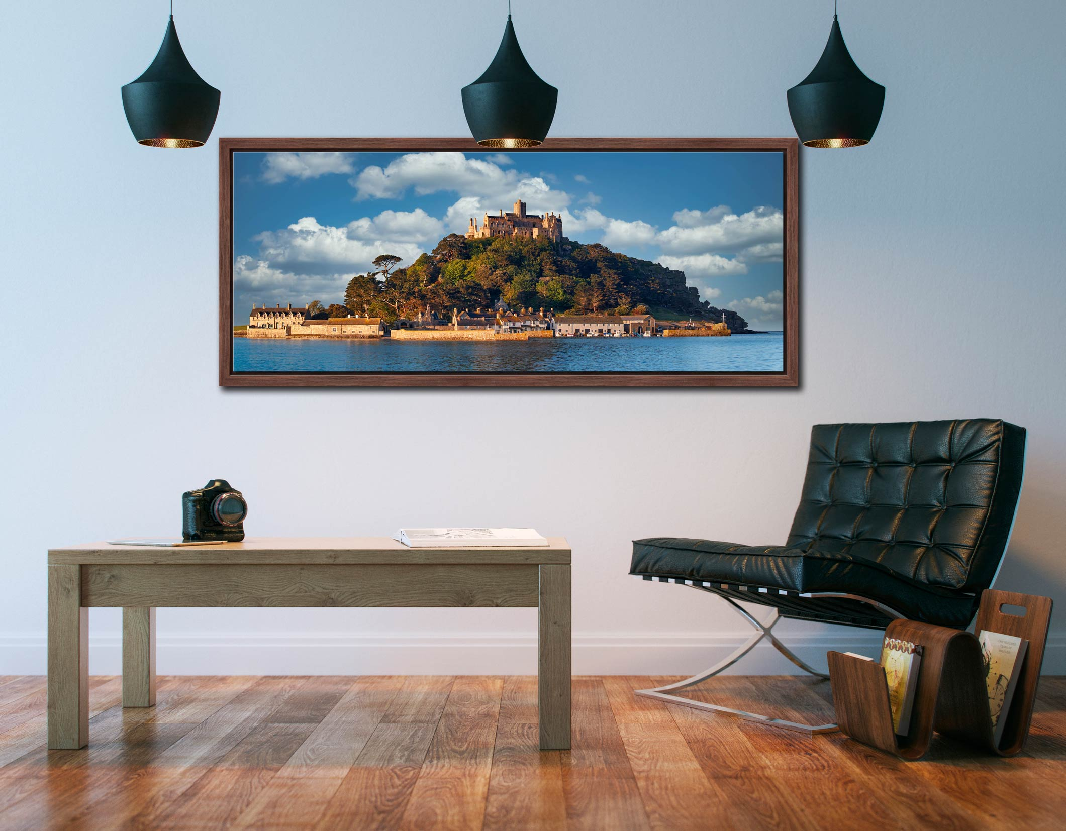 Warm spring sunshine on St Michaels Mount - Walnut floater frame with acrylic glazing on Wall