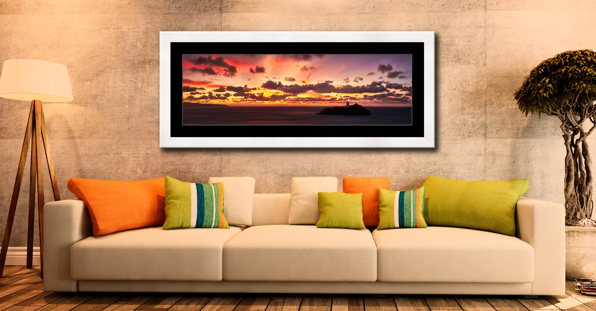 Godrevy Golden Sunset Panorama - Framed Print with Mount on Wall