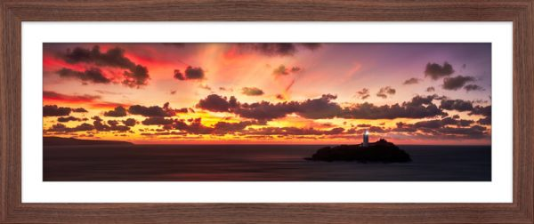 Godrevy Golden Sunset Panorama - Framed Print with Mount